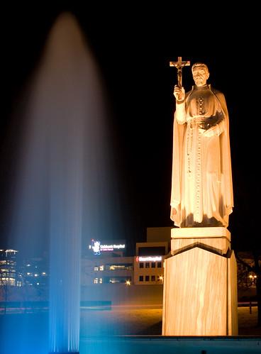 longexposure blue mist water fountain night lights tulsa saintfrancishostpital