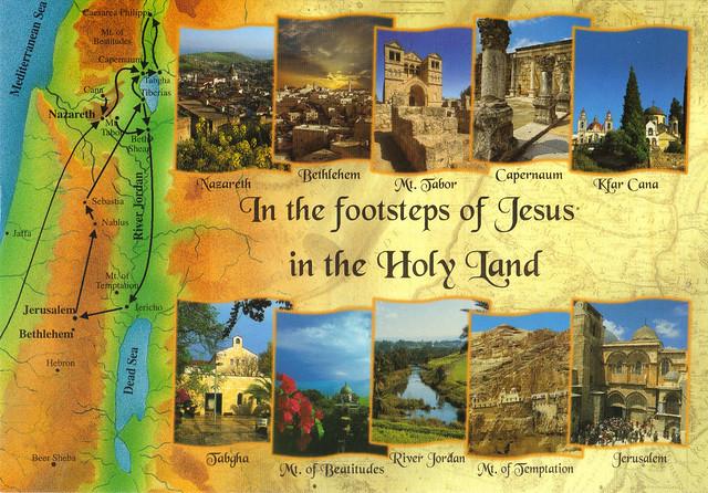 UNESCO Israel Holy Land Map Postcard