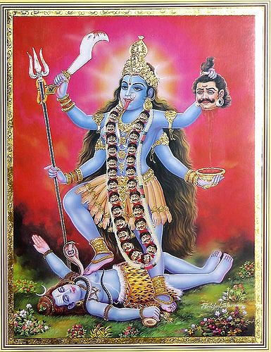Kālī is represented as the consort of Lord Shiva, on whose body she is often seen standing.