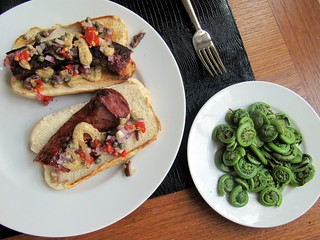 Lamb Kielbasa and Fiddleheads | by sobodda