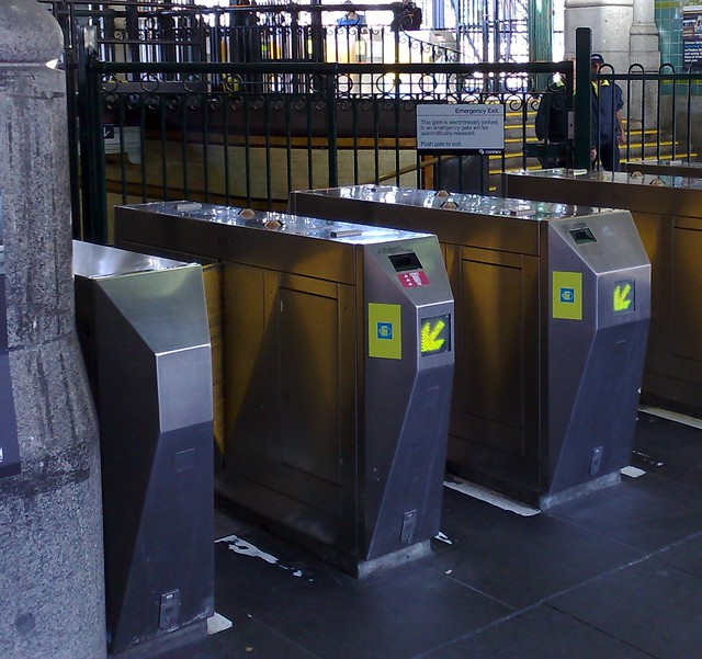 Metcard fare gates with Myki readers