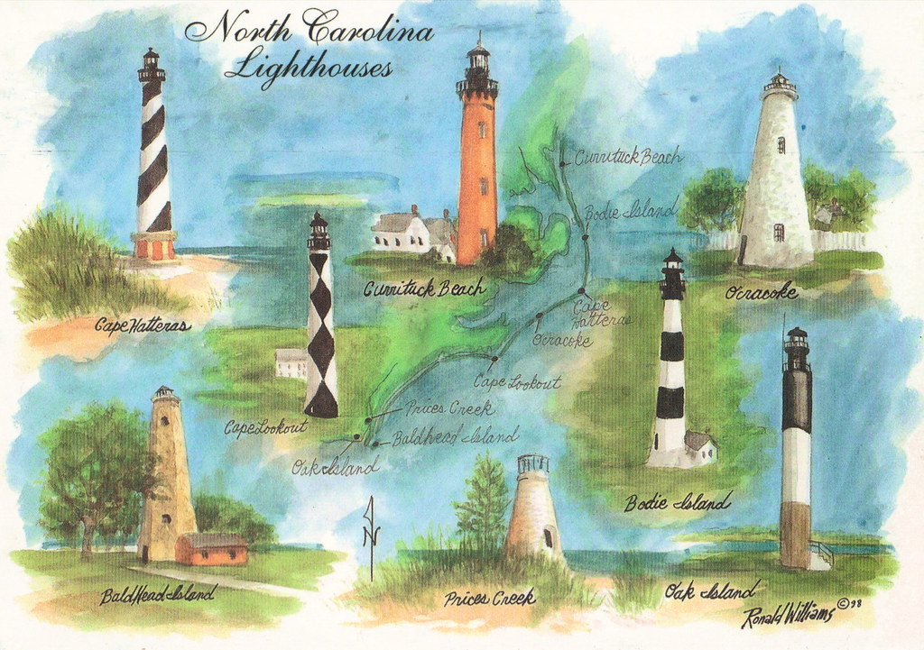 North Carolina Map Lighthouses Postcard | US/CA September RR ... on george lighthouses map, new york lighthouses map, puerto rico lighthouses map, buffalo lighthouses map, arizona lighthouses map, pacific coast lighthouses map, new england lighthouses map, seattle lighthouses map, boston lighthouses map,