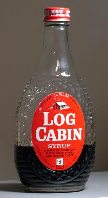 Log Cabin Syrup Bottle, 1960's
