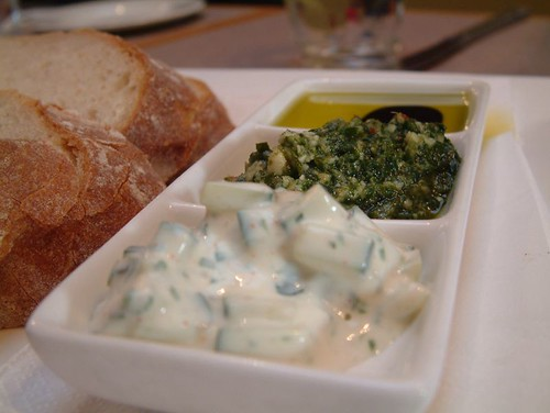 Tzatziki, Pesto and Olive Oil - Sourdough Bread, Banq, Yarra Valley | by avlxyz
