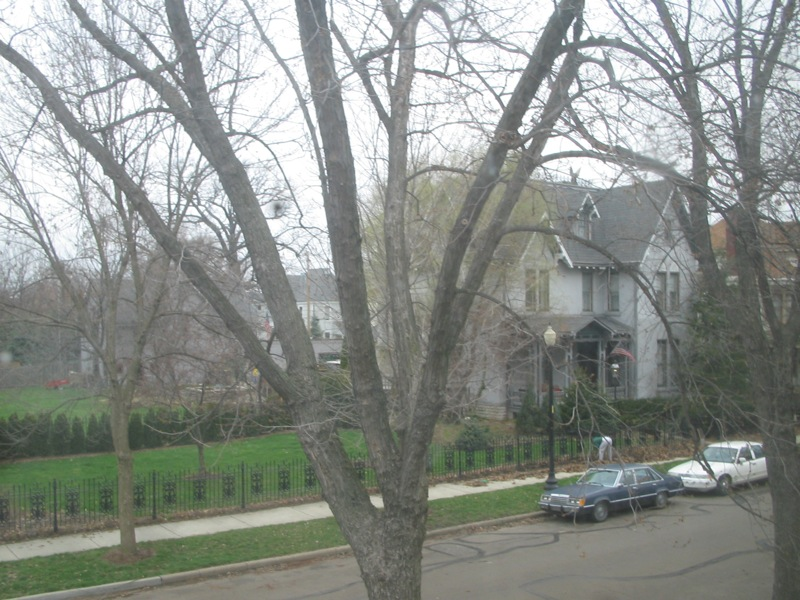 across the street to the north