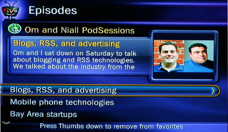 TiVo single podcast screen