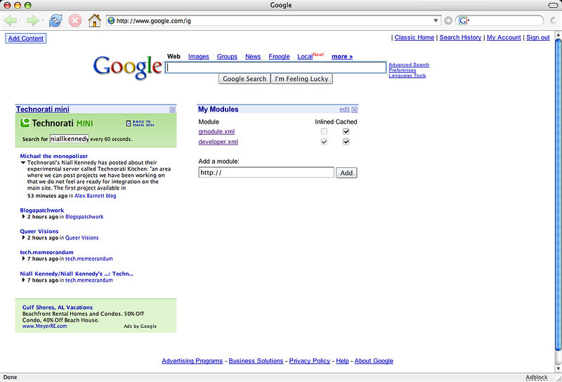 My first Google homepage widget