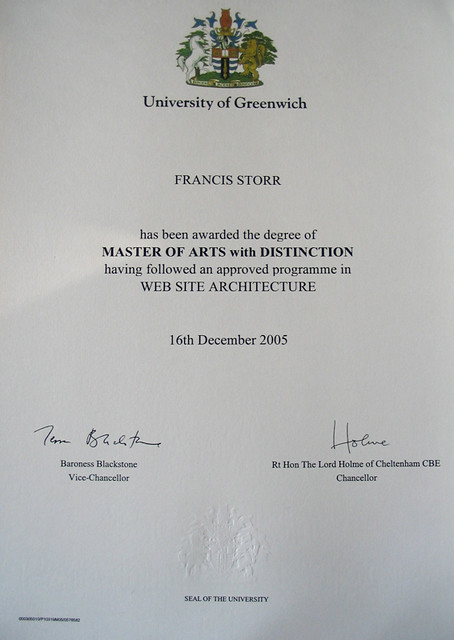 masters degree with distinction certificate