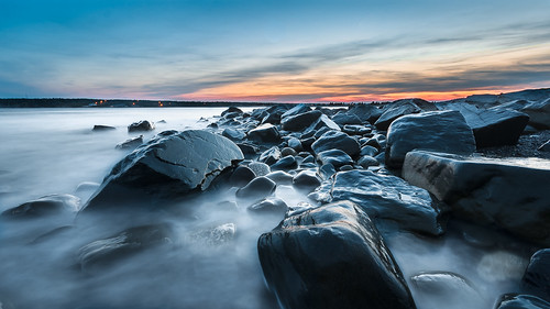ca longexposure sunset mist canada water rocks novascotia ns lawrencetown westlawrencetown