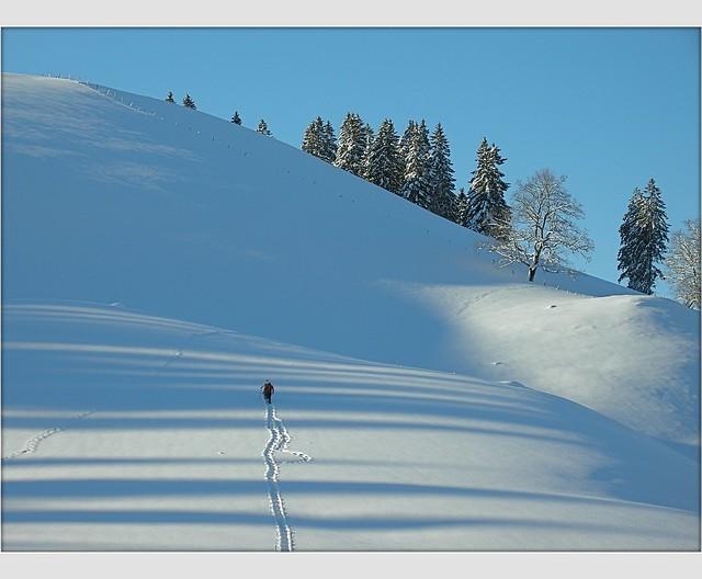 Switzerland Jura Mountains January 1 , 2009 The man on the hill