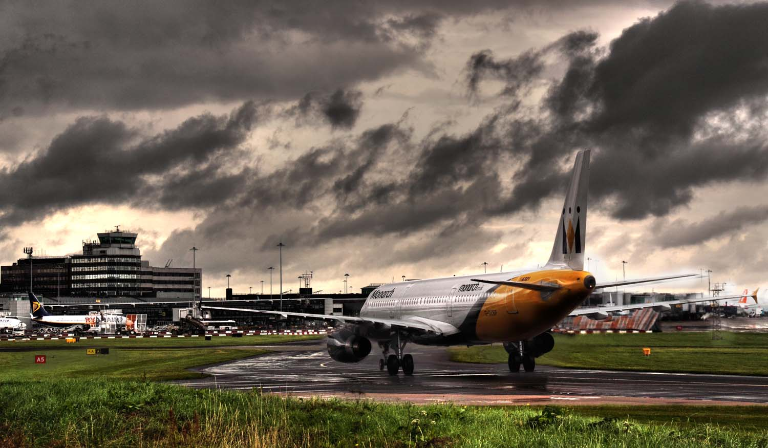 Manchester,MAN,Ringway,International,Airport,Monarch,Airways,jet,aircraft,grey,clouds,cloud,rain,rainy,day,runway,run,way,365-028,G-OZBP,Airbus,A321-231,CN1433,taxi-ing,taxi,365days,www.thewdcc.org.uk,thewdcc.org.uk,wdcc.org.uk,Warrington,society,District,Camera,club,photographic,photography,SLR,DSLR,group,GYCA,Bellhouse,bellhouse Club,HDR,high dynamic range,city,hotpix!