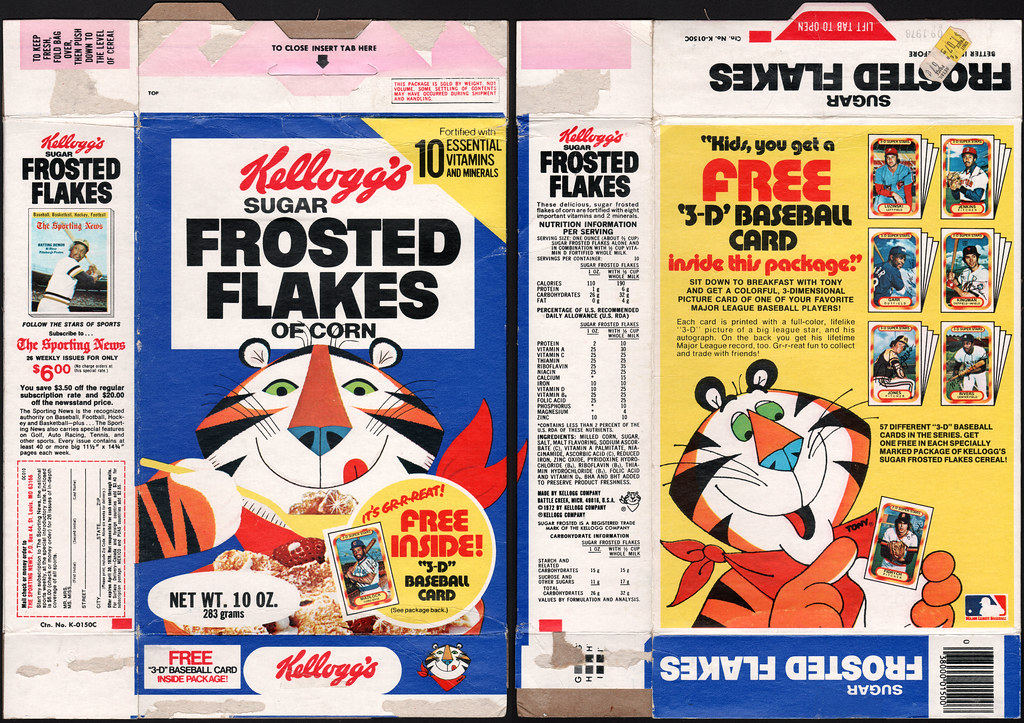 Kelloggs Frosted Flakes Cereal Box Free 3 D Baseball Ca