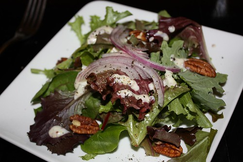 Greens with Pecans, Red Onion, and Yogurt Dressing | by chefelf
