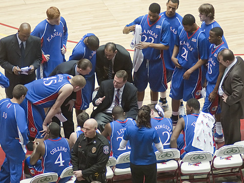 Bill Self during timeout | by SD Dirk