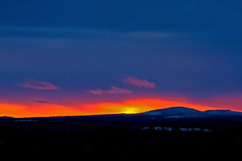 sunset sun finland horizon hill kuusamo