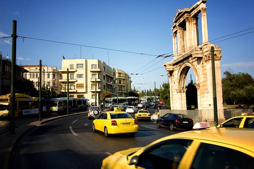 El tráfico en Atenas