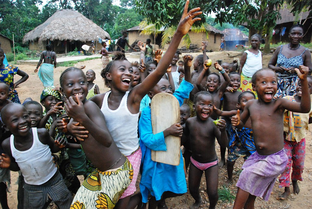 Jumping For Joy In Sierra Leone Children Playing At A