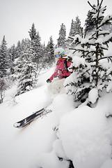 Train SNOWfest 08 - Katka Sobotková mezi švýcarskými smrčky.