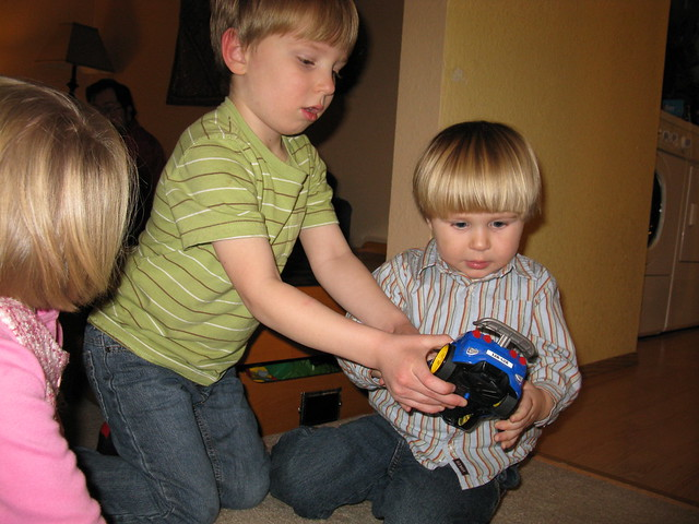 Playing with Milo's New Car