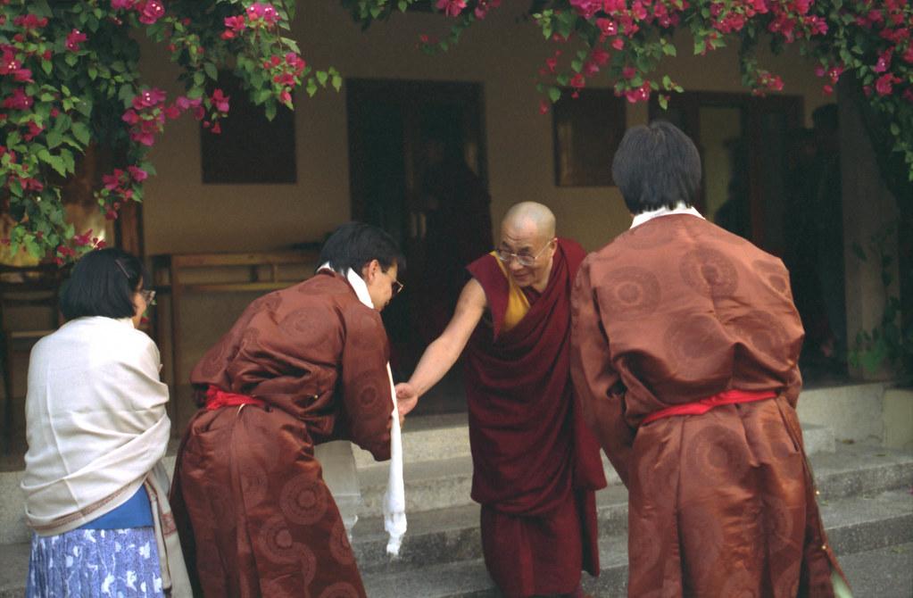 Wearing his formal Tibetan chuba, Zaya Vajra Sakya greetin… | Flickr