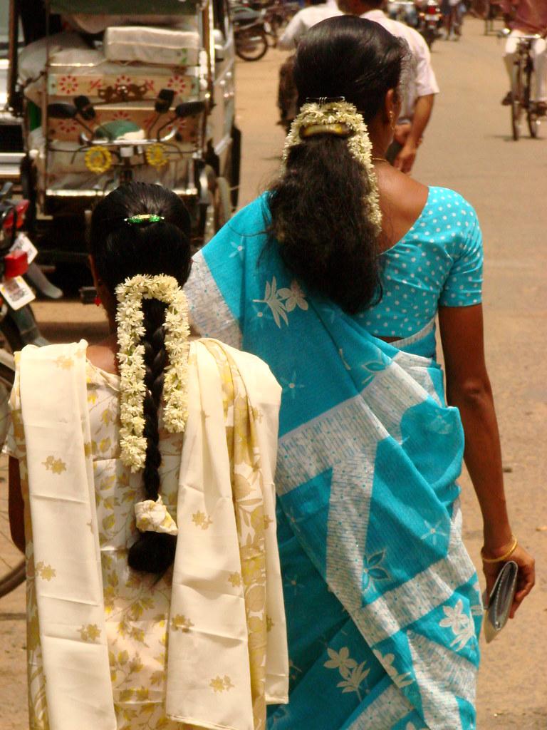 Women With Flowers In Hair Kumbakonam India Adam Jones Flickr