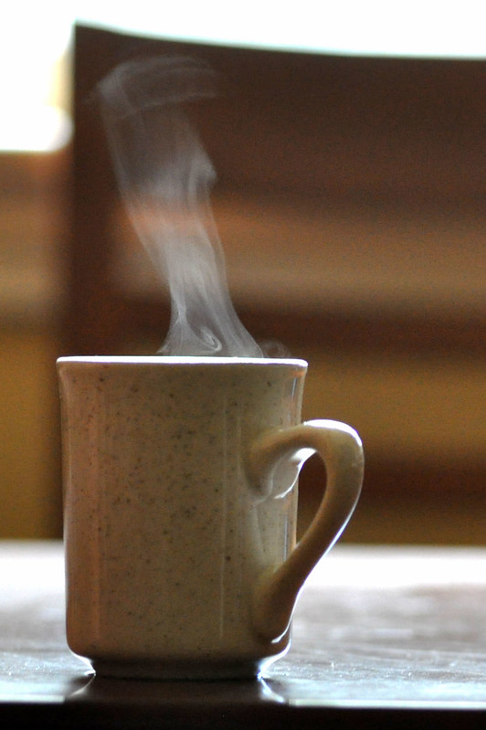 steam rising from hot coffee