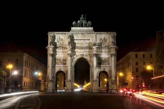Siegestor in Munich at Night