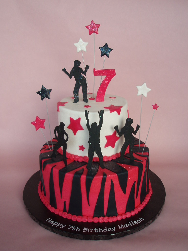 Remarkable Rock Star Dance Themed Cake Maddy Celebrated Her 7Th Bir Flickr Personalised Birthday Cards Beptaeletsinfo