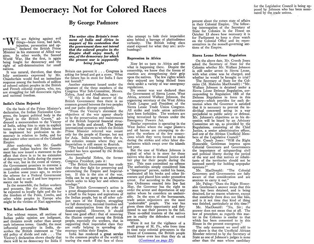 Democracy Is Not For The Colored Races - Crisis Magazine, January, 1940