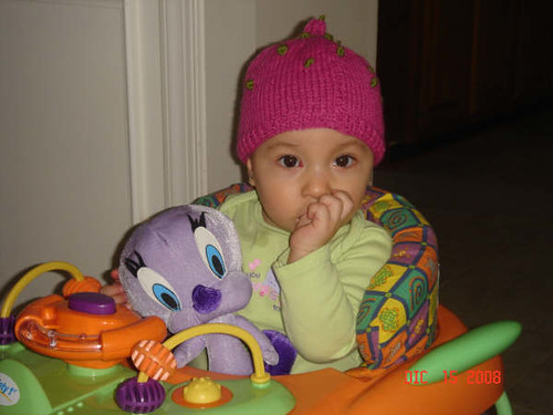 Baby Angelina wearing a hat that I have made for her!