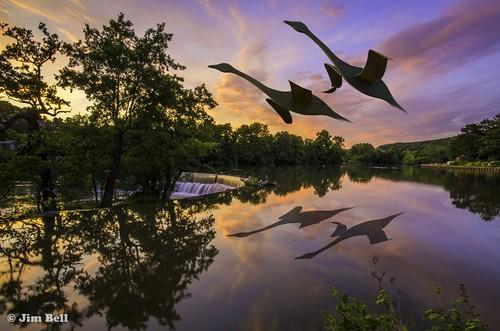 sunset flying geese belper riverderwent rivergardens