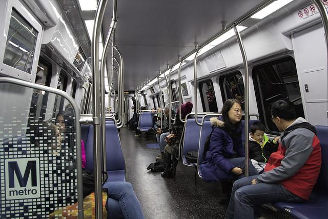 WMATA (Washington Metro) Subway Train Interior at Gallery Place-Chinatown Station