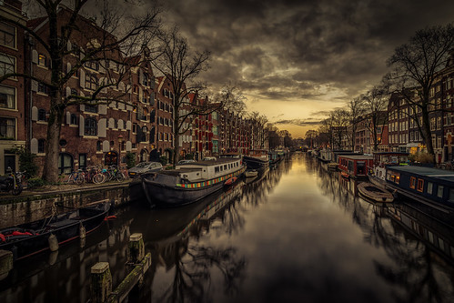 amsterdam cityscape canals brouwersgracht sunset architecture