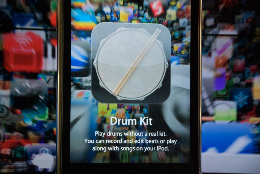 Drum Kit - iPhone apps window display at Apple Store in Sa