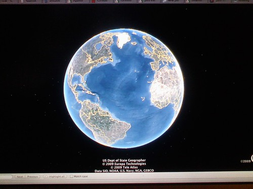 11 of 12: 7:59pm Messing with the Google Earth API | by @HandstandSam