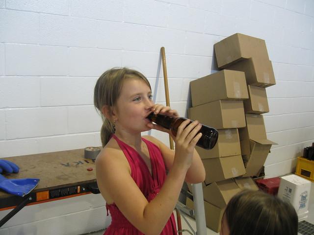 Girl drinking beer!