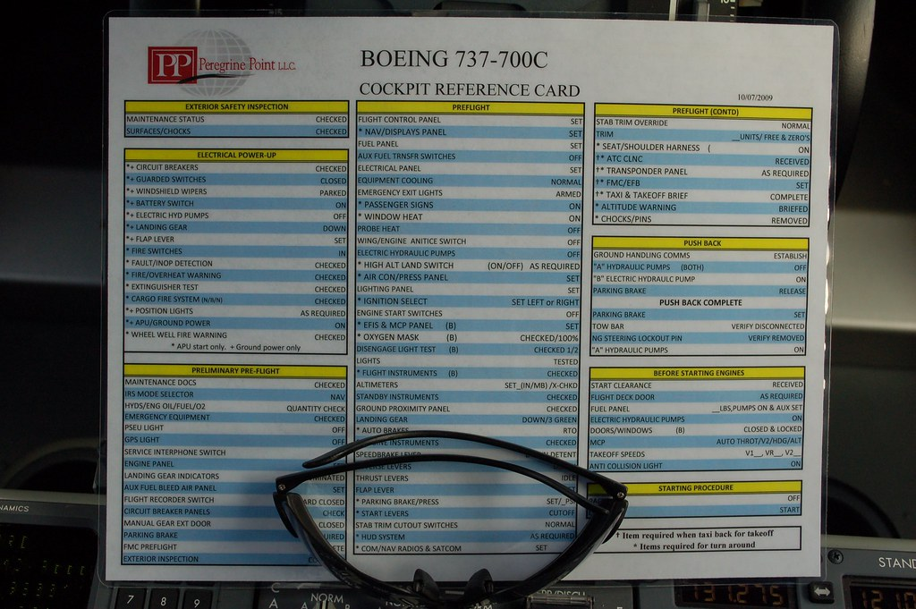 Boeing 737-700C Cockpit Reference Card | Peregrine Point Boe