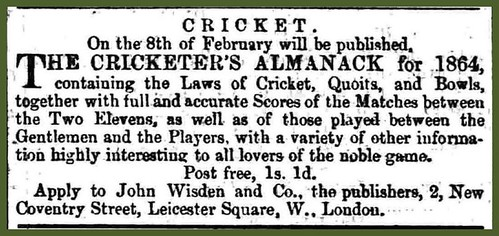 8th February 1864 - John Wisden's Cricketers Almanack published | by Bradford Timeline