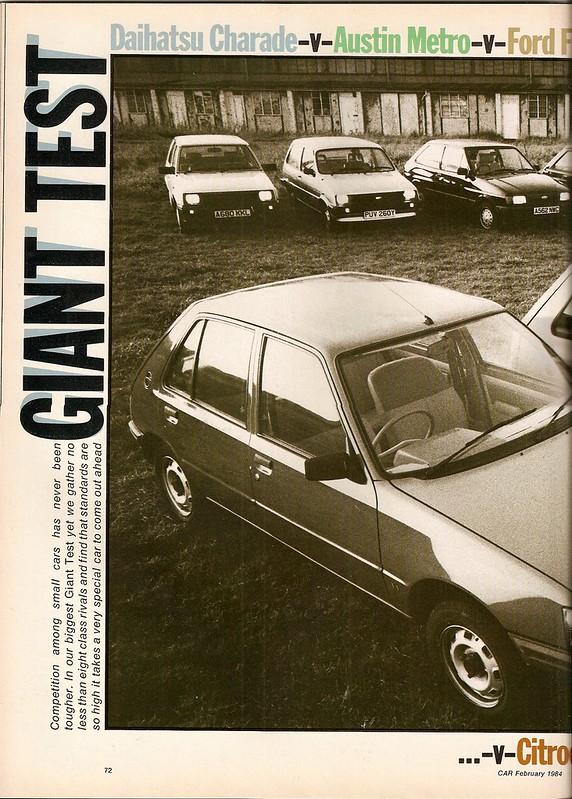 Austin Metro 1.0 L - Citroen Visa 11RE - Daihatsu Charade CX - Fiat Uno 55S - Ford Fiesta 1.1 L - Peugeot 205 1.1 GL - Vauxhall Nova 1.2 L & Volkswagen Polo C Group Road Test 1984 (1)