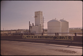 Sign on Bridge near Ppg Plant Protests Air Pollution 02/1973