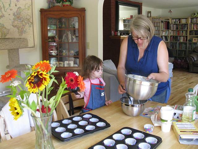 Zoe Making Cupcakes with Grandma Amy