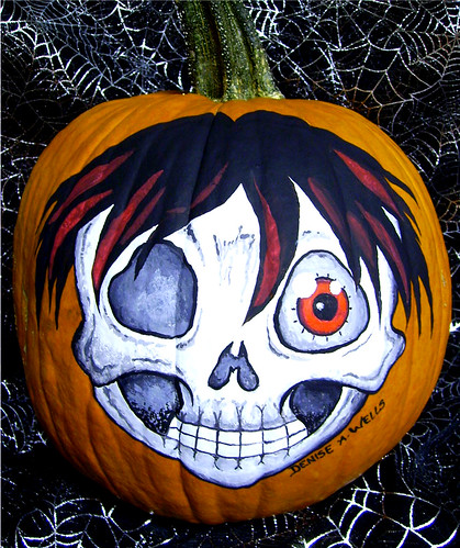 Pumpkin Painting Anime Zombie by Denise A. Wells