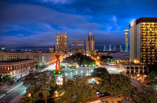 city night sanantonio marriott geotagged downtown texas cloudy sony hilton hotels grandhyatt hdr riverwalk masking towerofamericas lightstreaks carstreaks brandonwatts torchoffriendship a700 sigma1020 geo:lat=29423502 geo:lon=98488422