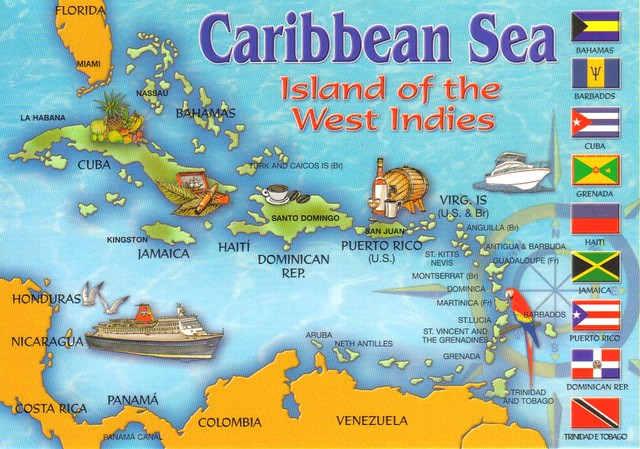 Caribbean Sea map postcard | Erin | Flickr