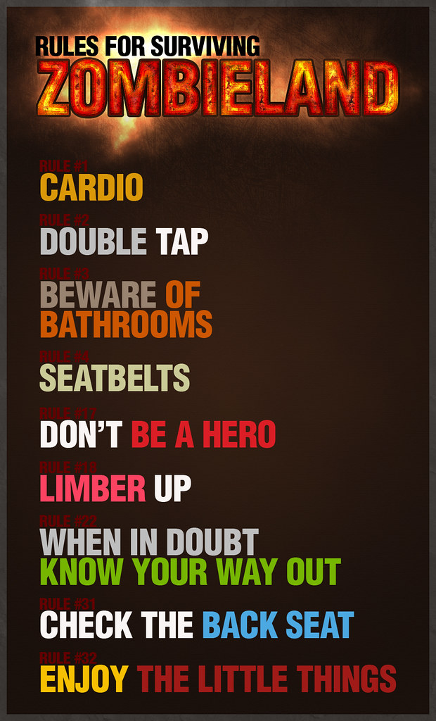 Rules For Surviving Zombieland Mini Poster Of The Rules Fo Flickr