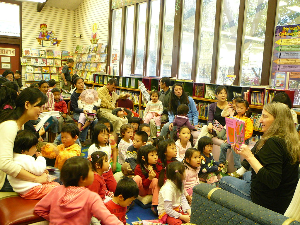 Reading to the children during Gardening Storytime.