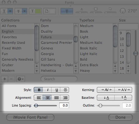 iMovie 09 Font Panel | Is that highlighted section something… | Flickr