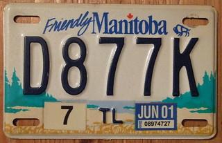 MANITOBA 2001 TRAILER plate