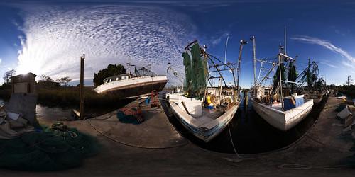 panorama boats florida pano shrimp shipwreck sphere canon5d stitched 360x180 apalachicola ptgui equirectangular canon15mm nodalninja3 garretveley