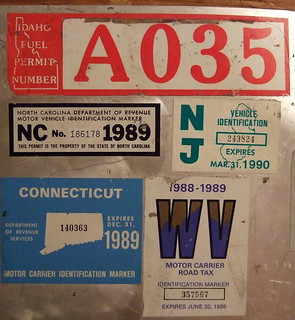 USA 1988-89 ---TRUCK PRORATE PLATE and TAX STICKERS, PIC #2 ---ID, NC NJ, CT and WV. close up of stickers